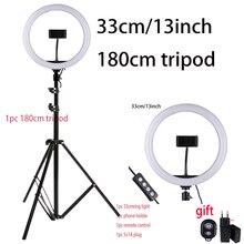 33Cm Selfie Ring Licht Met Telefoon Houder Light Stand 1Pc Afstandsbediening 1Pc 5V1A Eu Plug Fotografie verlichting Voor Foto Video