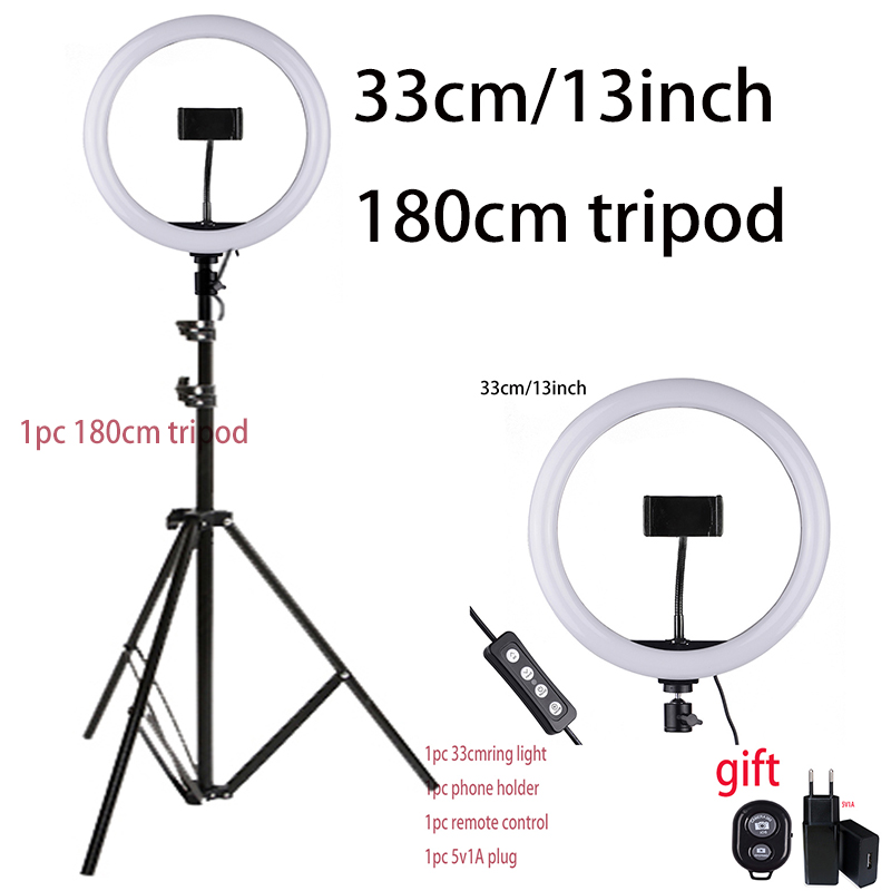 33cm Selfie Ring Light with Phone Holder Light Stand 1pc Remote control 1pc 5V1A EU Plug Photography Lighting for Photo Video|Photo Studio Accessories| |  - title=
