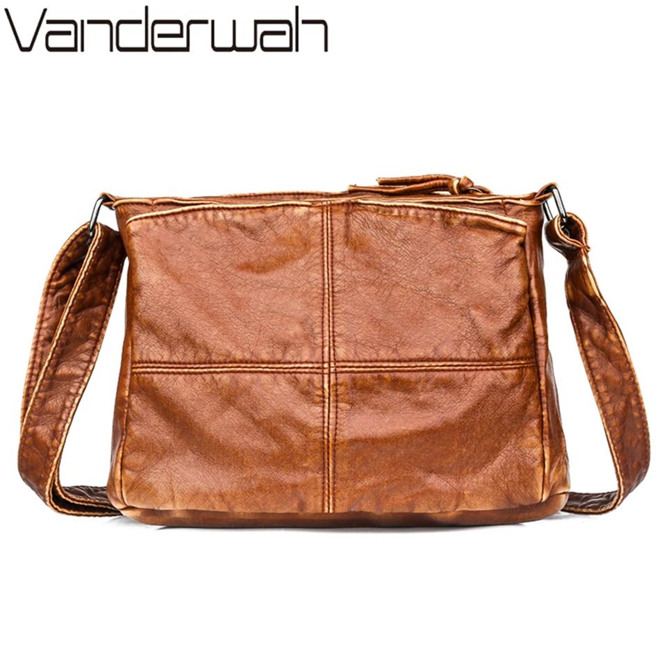 Many Pocket Retro Crossbody Shoulder Bag For Women Winter Handbag Female Soft Washed Leather Purses And Handbags Bags Sac A Main