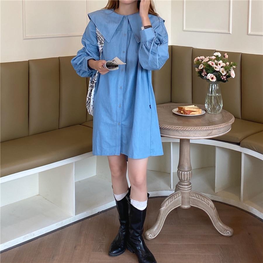 H0711b689b81e43a99e1b686be3810b49T - Autumn Korean Big Lapel Collar Long Sleeves Drawstrings Solid Mini Dress