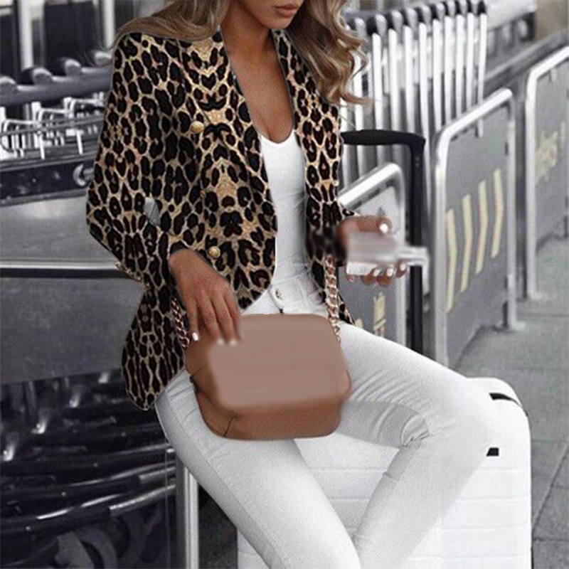 Women Jacket Autumn Winter Office Formal Long Sleeve Leopard Print Casual Ladies Slim Fit Business Coat