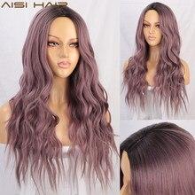 AISI cheveux longs ondulés Ombre violet perruque perruques synthétiques pour les femmes afro-américaines Omber rose deux tons naturel partie moyenne perruque