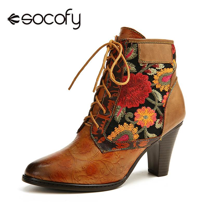SOCOFY Retro Genuine Boots Women  Leather Embossed Embroidery Stitching Lace Up High Heel Boots Shoes Women Elegant Shoes 2020