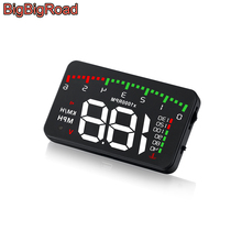 цена на BigBigRoad Car Hud Display Overspeed Warning Windshield Projector For Audi e-tron S1 S3 S4 S5 S6 S7 TT TTS SQ2 SQ5 SQ7 SQ8 TT RS