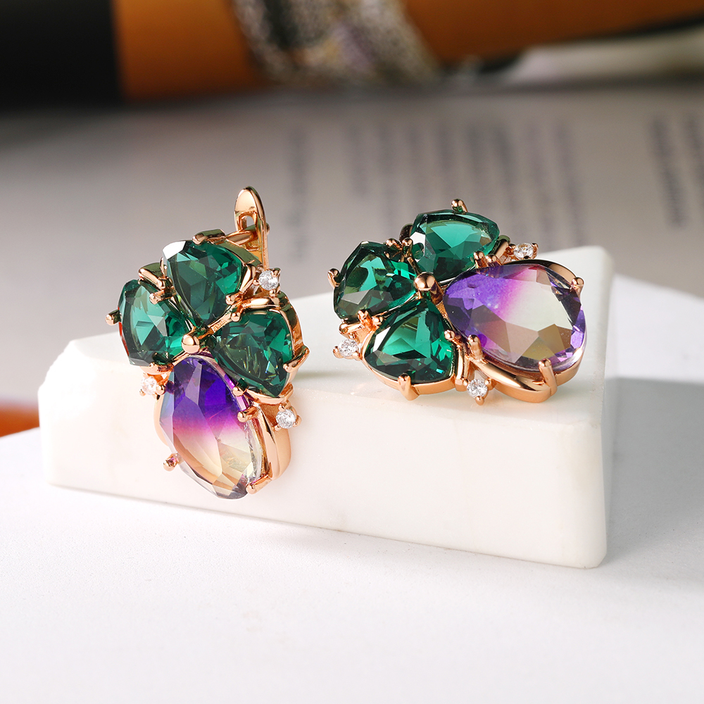 Simple Glass Zircon Stone Hoop Earring Fashion Style Women Earrings Suitable for All Occasions New Arrival