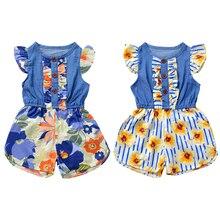 цены Kids Romper Baby Girl Floral Ruffle Romper Flower Print Summer Bowknot Kids Jumpsuit Newborn Clothes0102