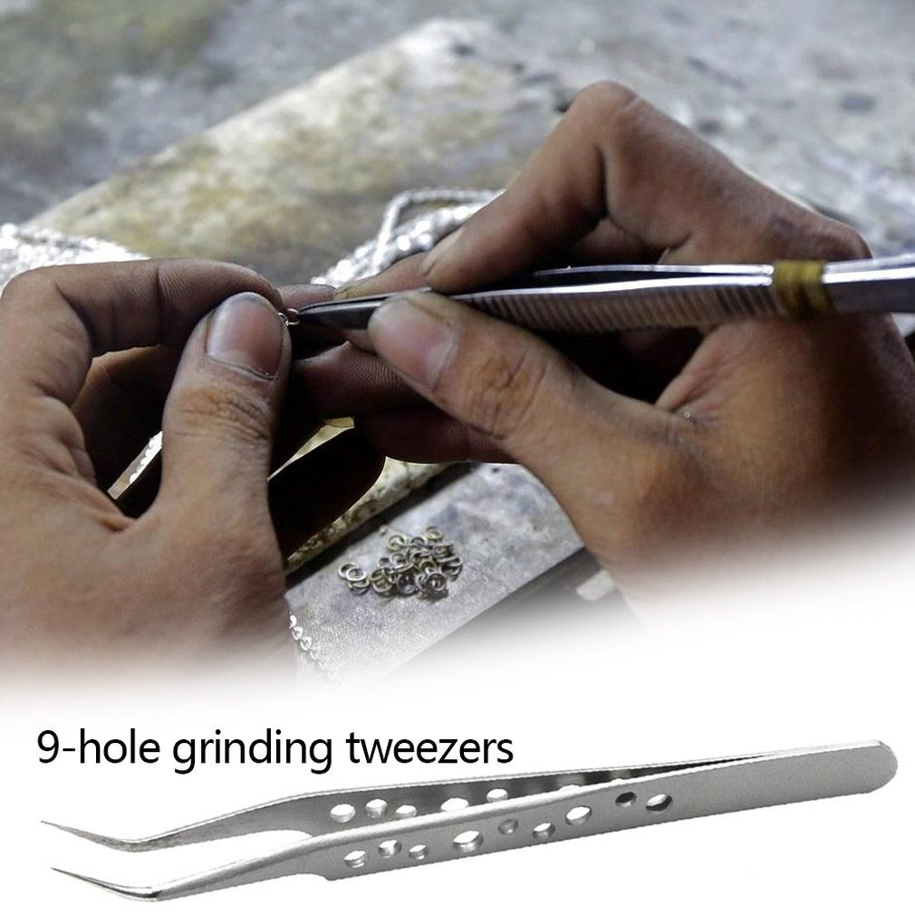 9 Hole Precision Tweezers Frosted Bright Tip 1.5Mm Nail Tweezers Straight Elbow Nail Tweezers Nail Tools
