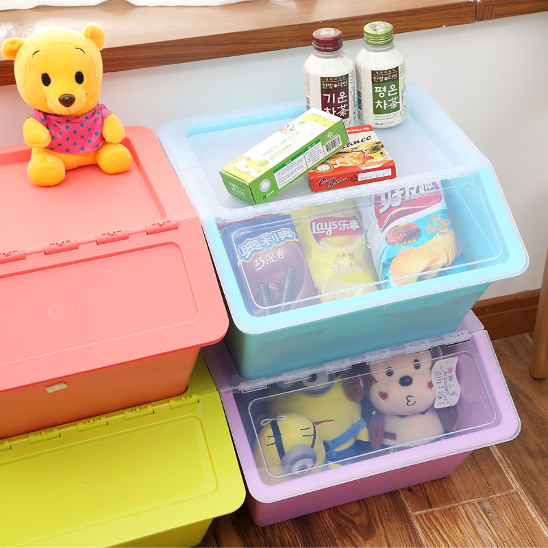 Large storage box plastic with cover clothes children's toys zero food finishing box kitchen storage box transparent