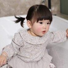 Осенняя детская блузка из полиэстера с длинными рукавами для маленьких девочек; милая однотонная Удобная блузка с пышными рукавами и цветочным принтом; 2 цвета
