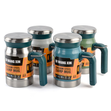 Outdoor stainless steel vacuum flask tea cup filter double-layer office with handle new camping mug