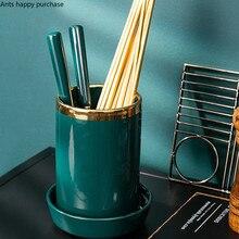 Зеленая нордическая емкость для палочек для еды Керамика бытовая плесени доказательство кухня хранение кухонной утвари нож крест для ложки и палочек дренажная клетка