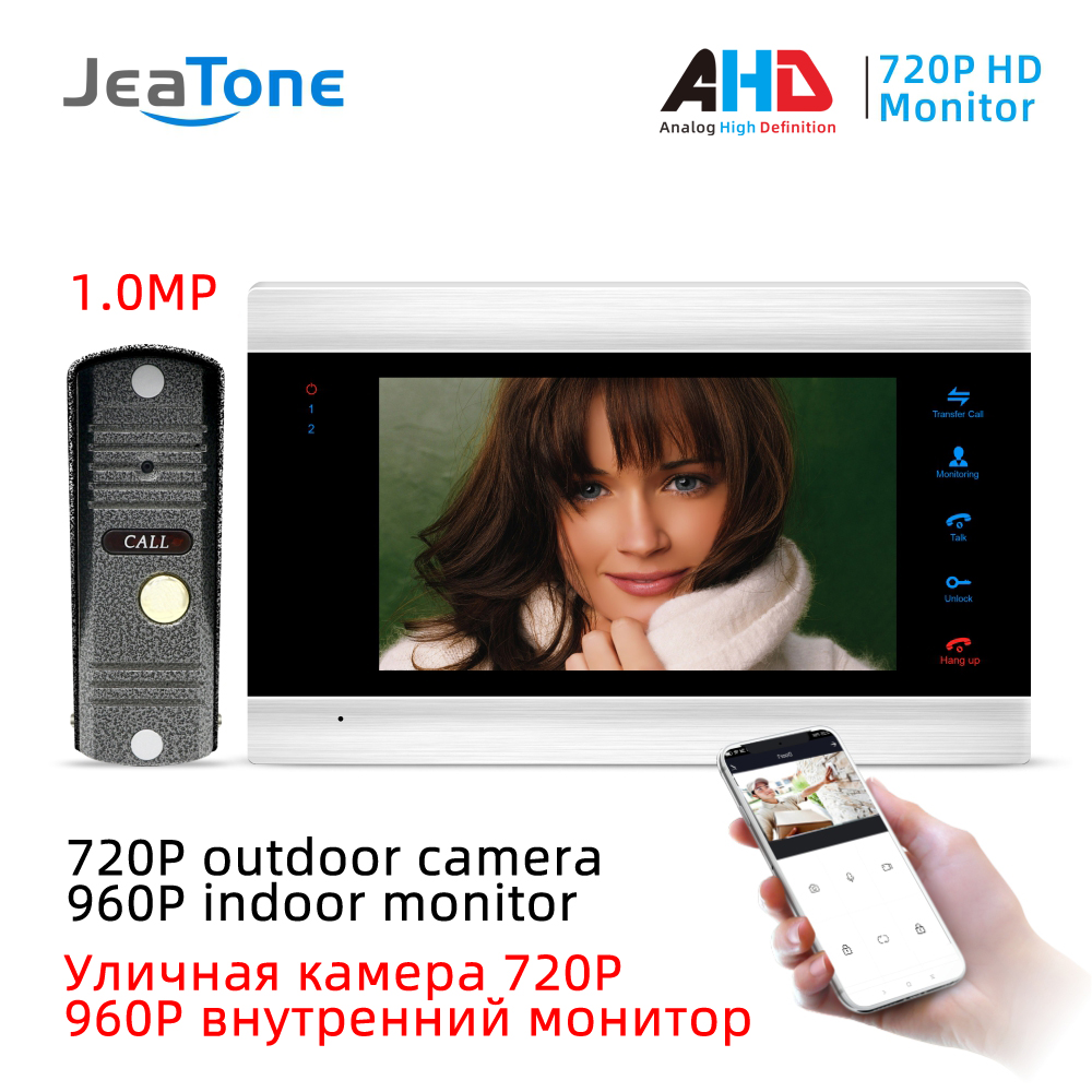 JeaTone New 7 Inch WiFi Smart IP Video Door Phone Intercom System With 720P AHD Wired Doorbell Camera, Support Remote Unlock