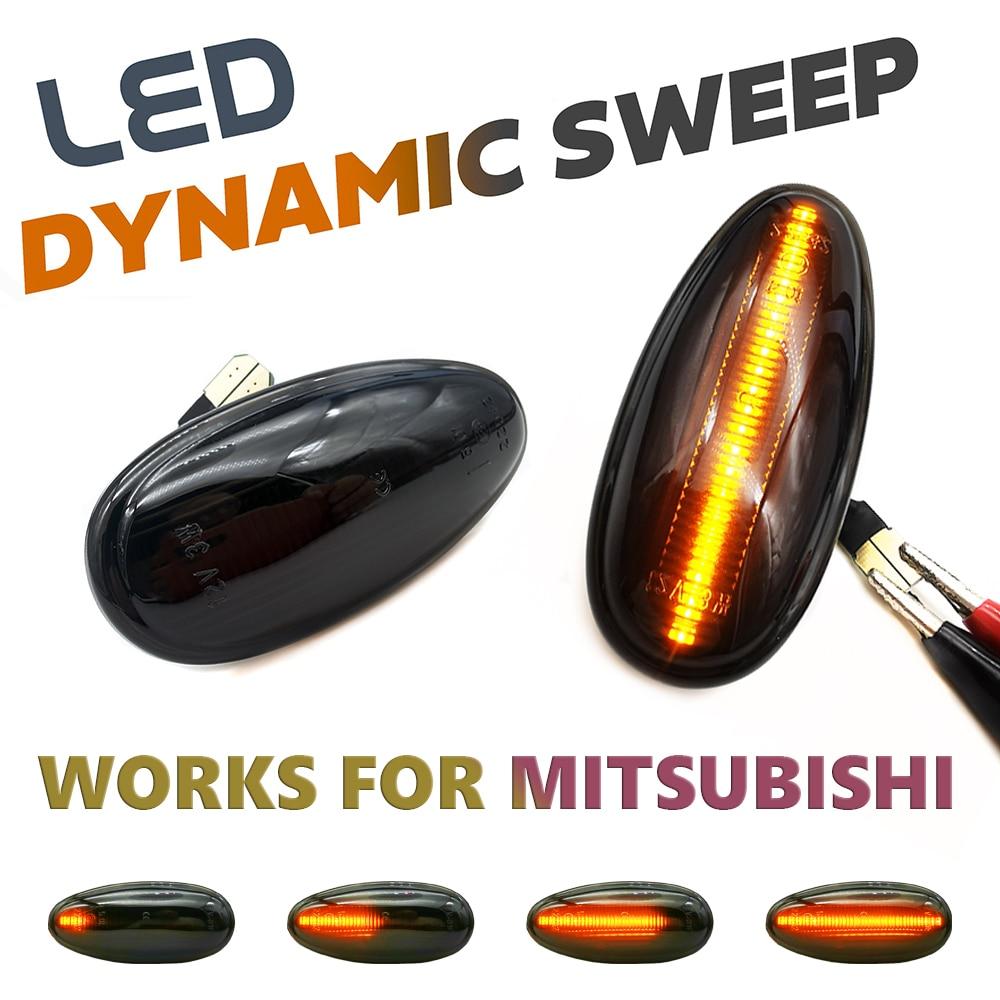 Светодиодные динамические боковые габаритные огни, лампы указателей поворота со стрелками для Mitsubishi Pajero Shogun 3 Sport K9 Galant Outlander Lancer