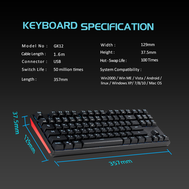 HEXGEARS GK12 Mechanical Keyboard Hot Swap Kailh BOX Switch 87 key Gaming keyboard Anti Ghosting Russian Keyboard PC/Mac/Lap
