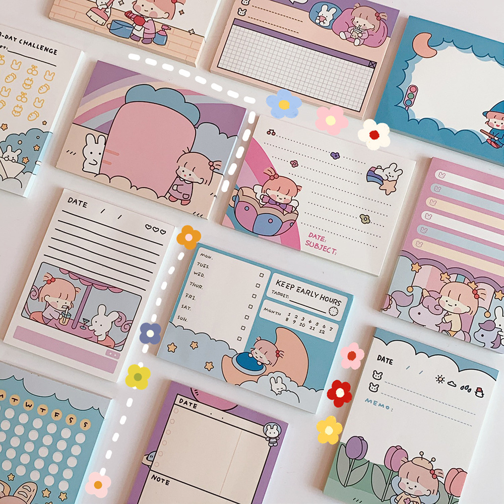 50 arkuszy kreskówka ładna dziewczyna notatnik kreatywny mały notatnik uczeń notatki Do zrobienia List terminarz tygodniowy naklejki Kawaii biurowe