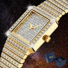 Lüks Bling elmas izle kadınlar için Hip Hop bayan saatler kadın saat altın kare buz OUT bayanlar kol saatleri reloj mujer yeni