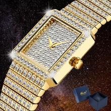 Sang Trọng Bling Kim Cương Cho Nữ Hip Hop Đồng Hồ Nữ Đồng Hồ Nữ Vàng Vuông Đá Ra Nữ Đồng Hồ Nữ Reloj Mujer mới