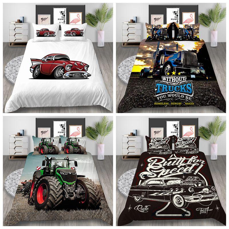 Venda quente 3d verde pickup truck série impressão capa de edredão conjuntos para crianças meninas meninos 2/3pcs