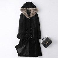 Real Fur Coat Female Natural Mink Fur Hooded Jacket Women Winter Clothes 2020 Korean Vintage Sheep Shearing 100% Wool Tops 19586