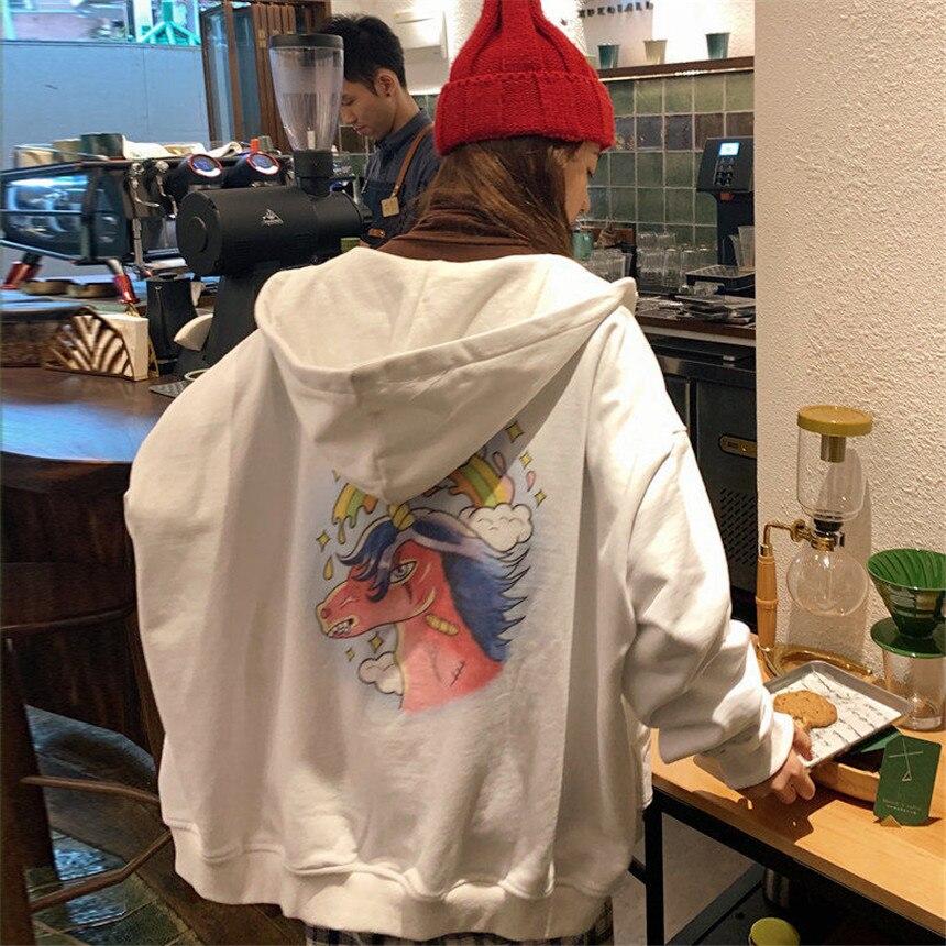 H0712b565f9084a7589a1933fdbc5fb89O Harajuku with hat hoodies women zipper kangaroo pocket casual loose solid color sweatshirt female 2020 fashion new female s
