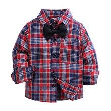 Long Sleeve Boy Plaid Shirts Cotton Turn-Down Collar Kids Shirts Boys Clothes
