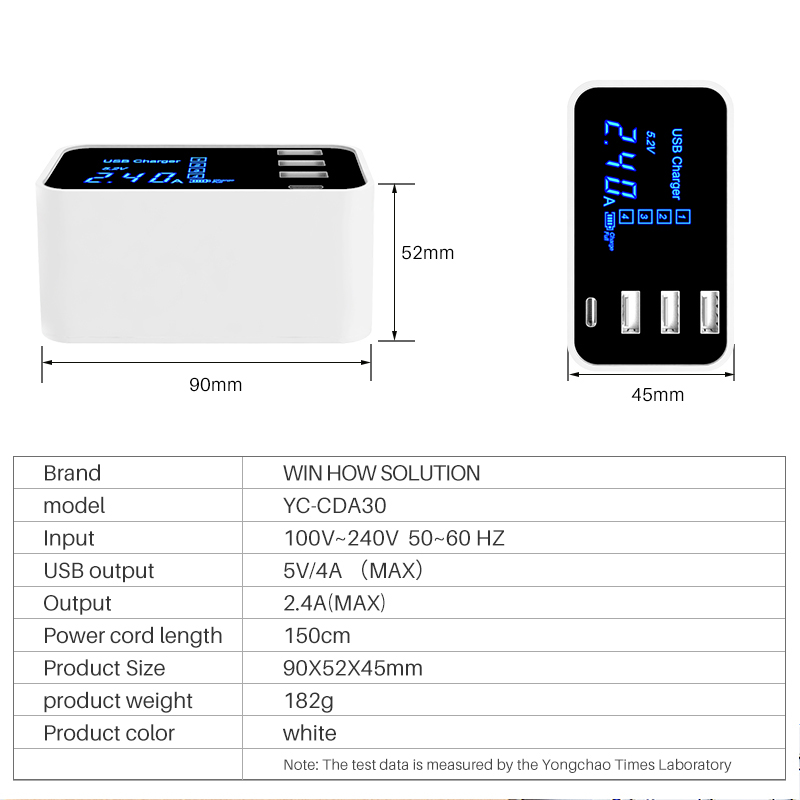 Image 5 - Quick Charge Type C USB Charger HUB Led Display Wall Charger Fast Mobile Phone Charger USB Adapter EU US UK Plug For iPhone X XS-in Mobile Phone Chargers from Cellphones & Telecommunications