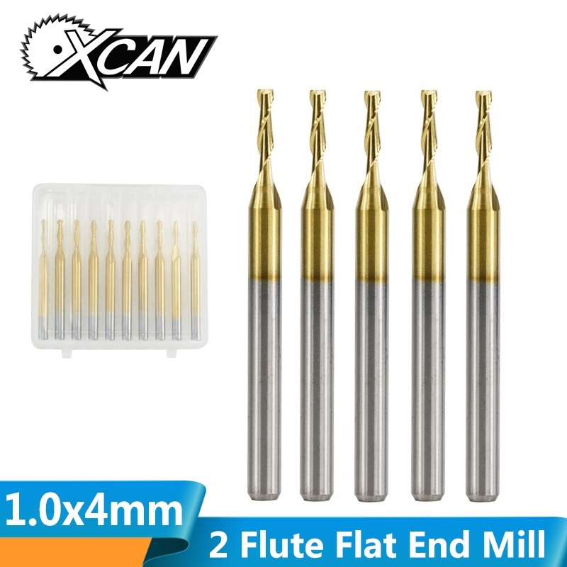 XCAN 10pcs 1mm Tungsten Carbide Flat End Mills 3.175 Shank CNC Router Bit For Wood/Plastic Cut 2 Flute Spiral End Mill
