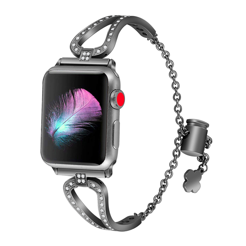 Women Diamond strap for Apple Watch 4 band 40mm 38mm 42mm 44mm iWatch series 4 3 2 1 stainless steel bracelet Crystal Bling belt in Watchbands from Watches