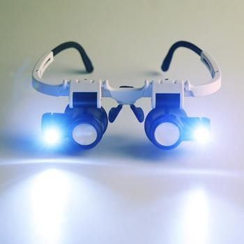 цена на 9892H-1 Head Mounted LED Lamp Acrylic Lenses Double Eye Glasses Magnifier Loupe Eye Glasses Magnifier for Jeweler/Watchmaker