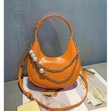 Fashion crescent underarm bag pearl chain shoulder bag ladies casual messenger bag  trendy all match