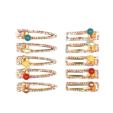 Full Flash Geometric Crystal Hair Clips Glitter Rhinestone Colorful Beads Accessories Hairgrips For Women Girls