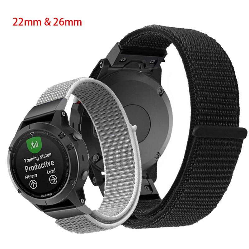 20 22 26mm Nylon Watch Band Easy Quick Fit Strap For Garmin Fenix 3 3HR Fenix 5X Plus Descent MK1 Fenix 5 Plus Motion Strap