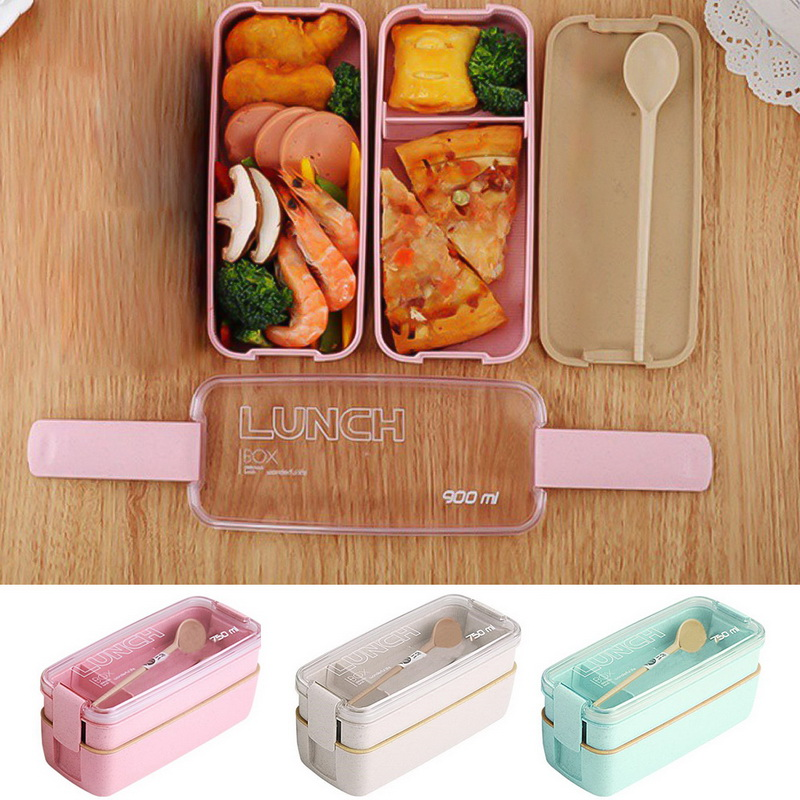 2 Layer Japanese Food Storage Container Wheat Straw Bento Lunch Box For School Kids Leak Proof Microwave Dinnerware Lunch Box