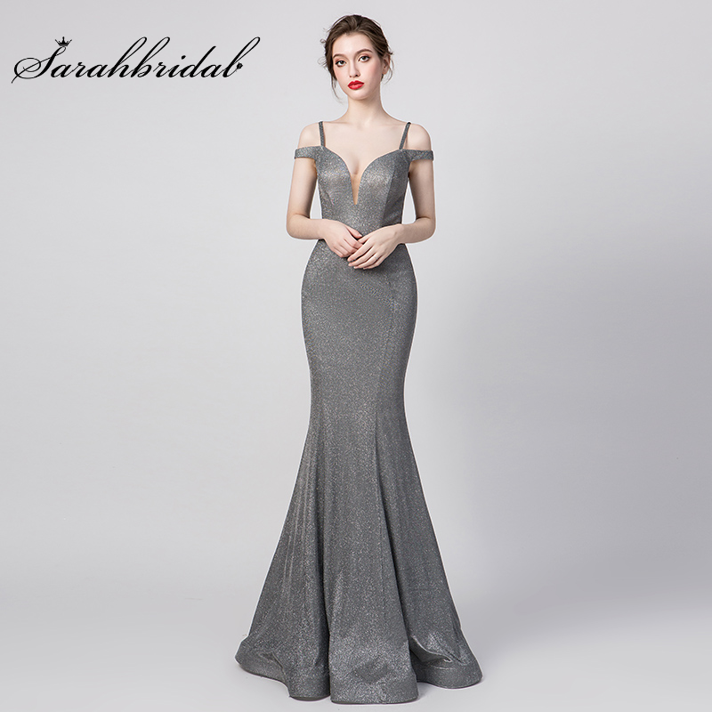 New Evening Prom Dresses Mermaid Off The Shoulder Zipper Sleeveless Party Gowns Gray Floor Length Empire Robe De Soiree 5261