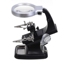 Welding Magnifying Glass 10 LED Light Auxiliary Clip Magnifier + USB Power Cord Hand Soldering Solder Iron Stand Holder Station