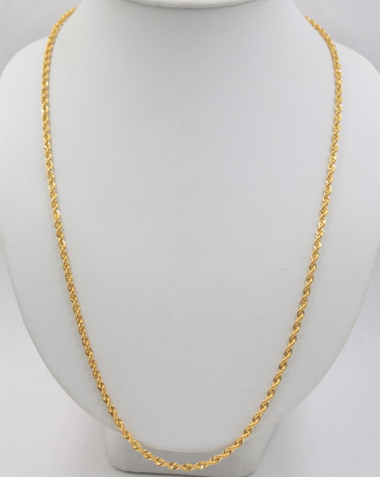 Image 4 - Real Pure 18K Yellow Gold Chain 3mmW Rope Women's Link Wealthy 23.6''L Gift New-in Necklaces from Jewelry & Accessories