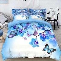 WOSTAR könig größe bettwäsche set Bettwäsche bettlaken duvet abdeckung kissen hause textilien luxus bettwäsche set Blau Schmetterling blume