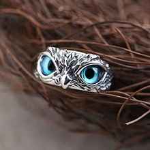 Retro Punk Cute Men And Women Simple Design Blue Eyes Owl Silver Fashion Trend Ring Party Engagement Ring Jewelry Gift