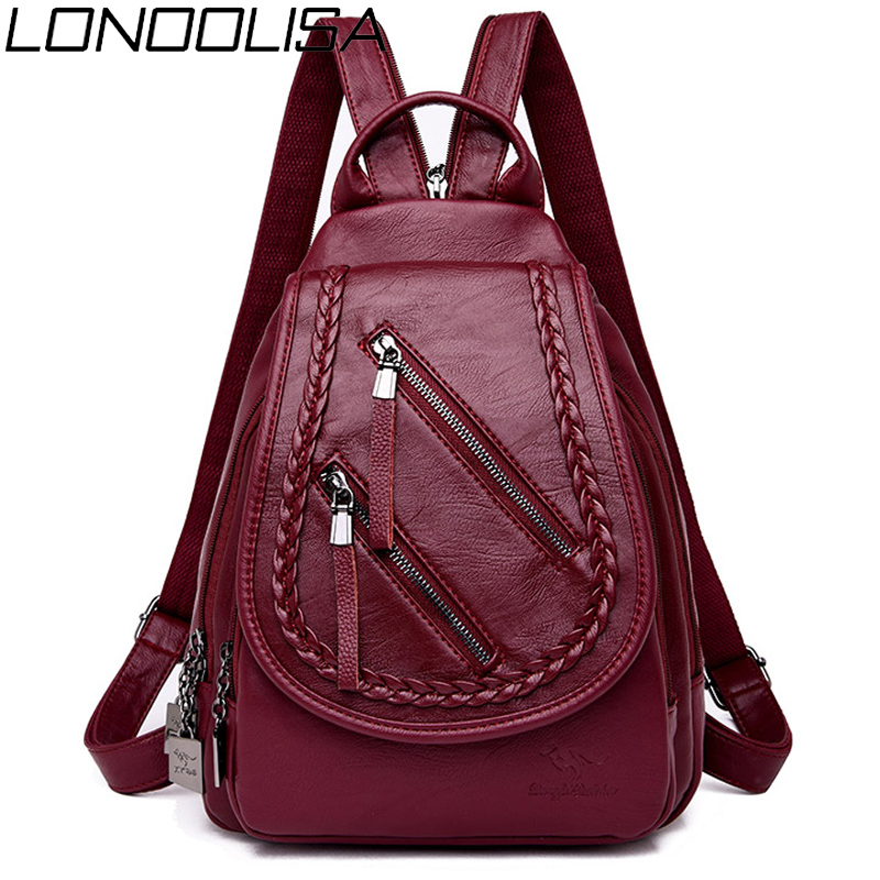 Weave Backpack Female Genuine Leather Backpack Women Large Capacity Travel Bag Zipper Shoulder Bags For Women 2020 Sac