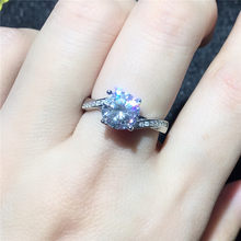 MeiBaPJ VVS1 D Color Moissanite Diamond Classic Ring for Women Real 925 Sterling Silver Charm Fine Wedding Jewelry(China)