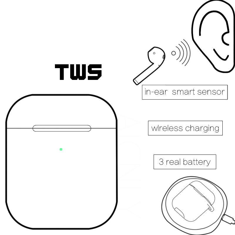 Smart for Original airpods 2nd Earbud pop up Bluetooth Wireless earphones for iPhone ipad airpods Apple Watch with Charging Case