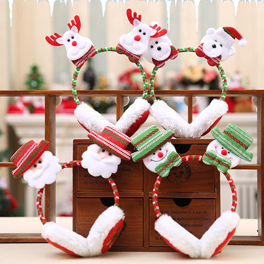 Merry Christmas Cute Earmuffs Winter Accessories Ear Warmer Plush Santa Claus Headband Ear Muffs For Kids Orejeras De Invierno