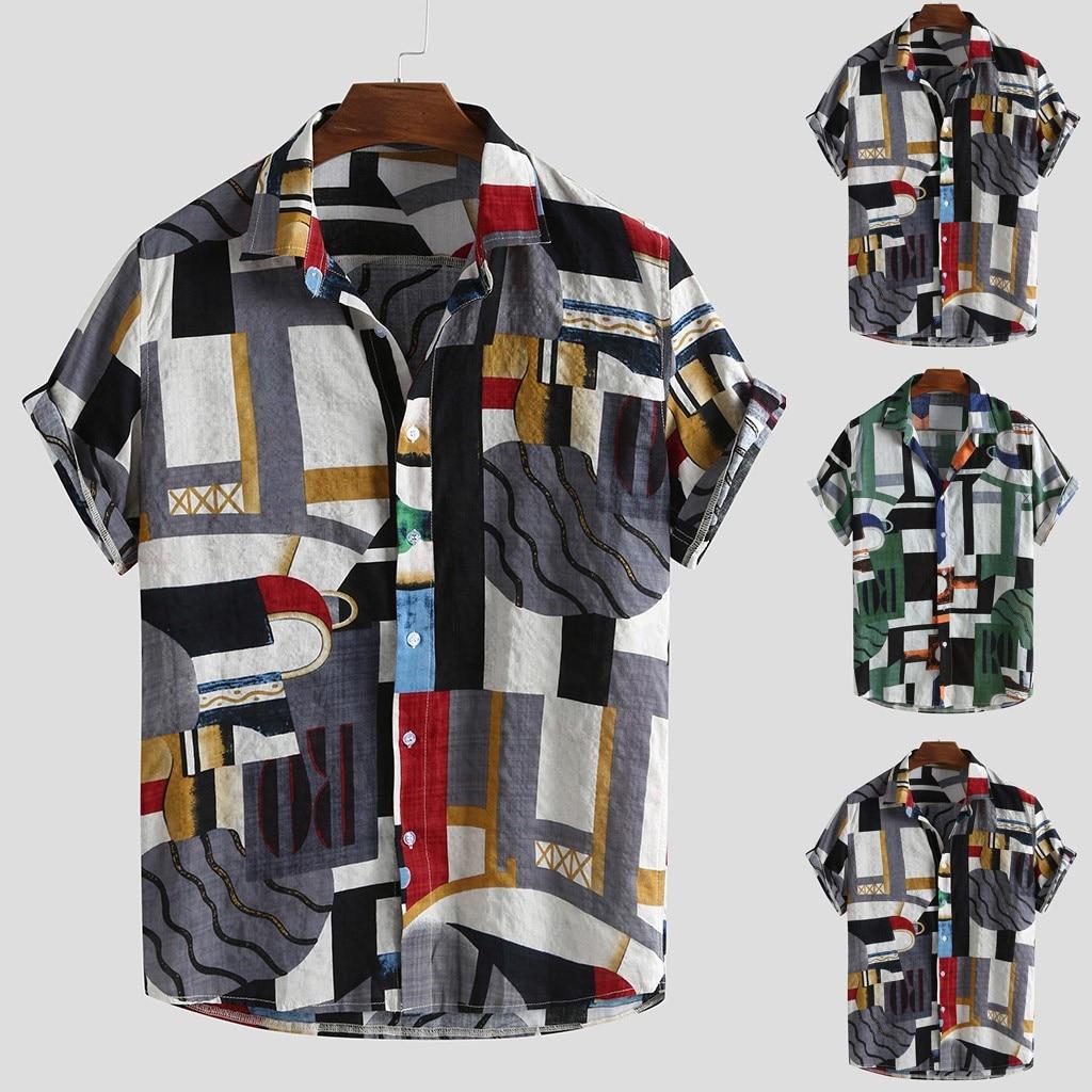 2020 Vintage Men Short Sleeve Shirt Male Hawaiian Blouse Turn Down Collar Streetwear Chemise Short Sleeve Homme Shirt Plus Size