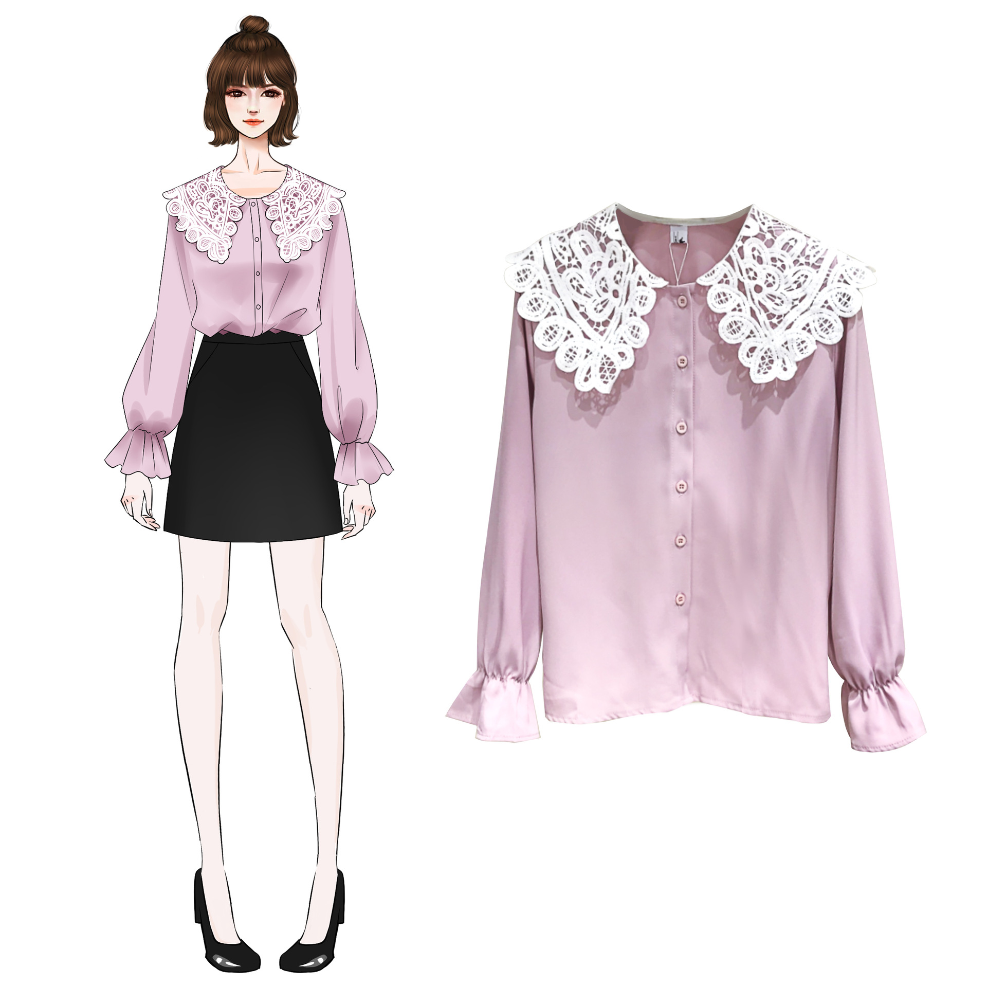 Large Size Dress 2019 Spring And Autumn New Style Korean-style Fat Mm Peter Pan Collar Loose-Fit Slimming Tops Base Shirt 200