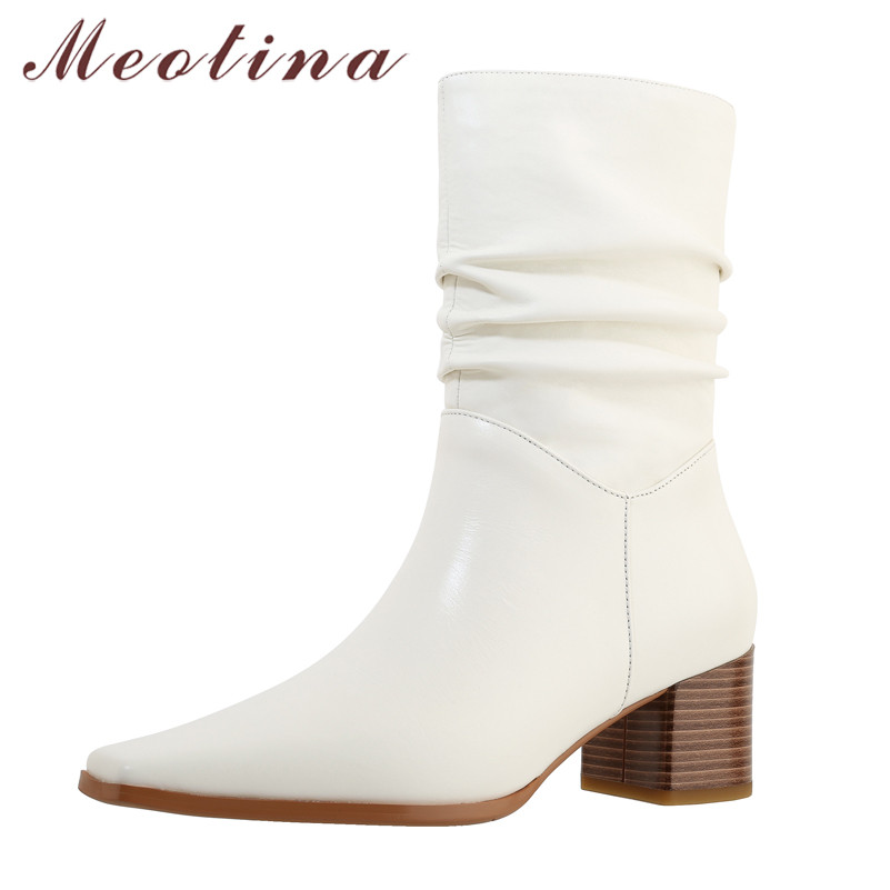 Meotina Genuine Leather Thick Heels Mid Calf Boots Women Shoes Square Toe Pleated High Heel Boots Ladies Fashion Shoes Beige 40
