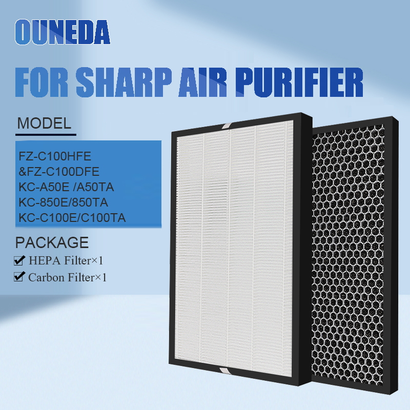Для FZ-C100HFE FZ-C100DFE HEPA и угольный фильтр Замена очиститель воздуха Sharp KC-C100E KC-A50E KC-850E KC-BB30-W