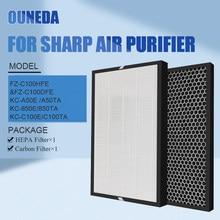 Para FZ-C100HFE FZ-C100DFE hepa & substituição do filtro de carbono ativado afiada purificador ar KC-C100E KC-A50E KC-850E KC-BB30-W