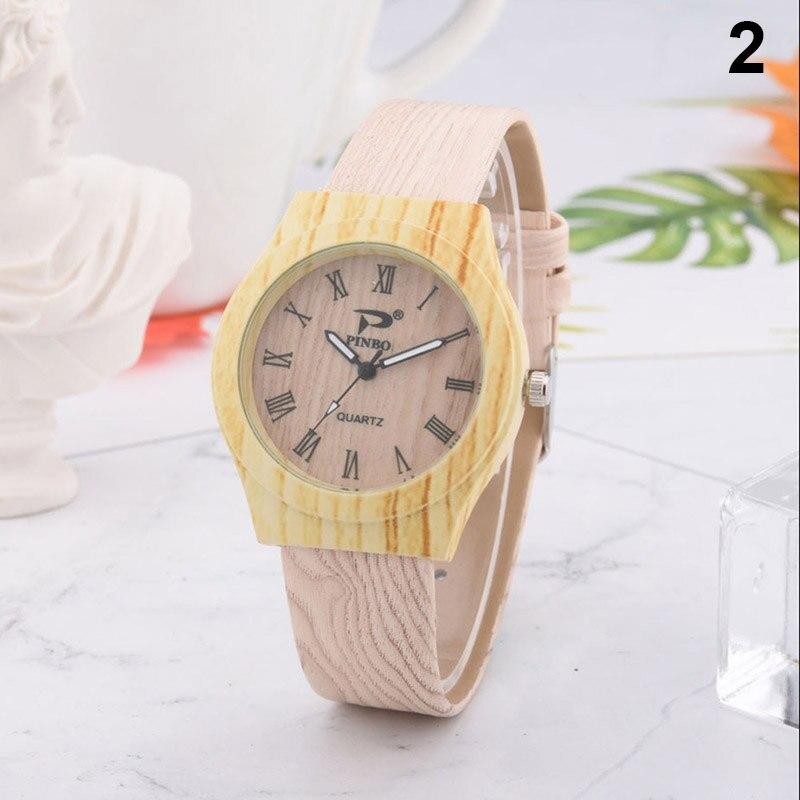 Newly Men Women Quartz Watch PU Leather Wood Pattern Wristwatch Student Sport Casual Watches FIF66