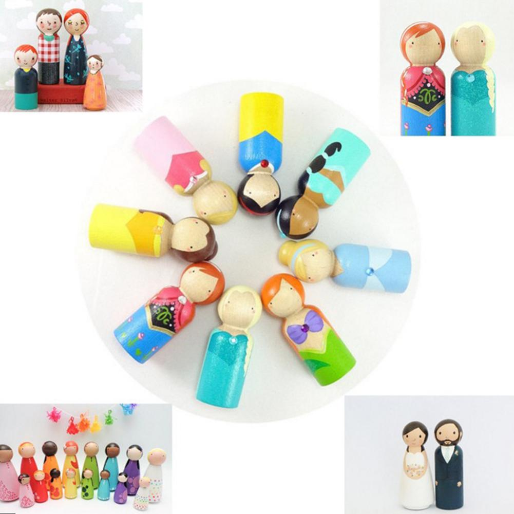 10Pcs Natural Unfinished Wooden Male Female People Doll Kids Paint Graffiti Toy New
