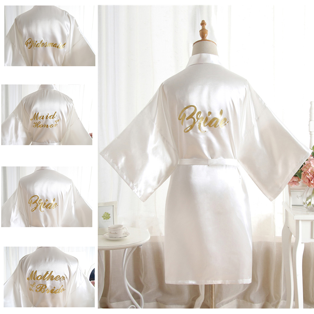 High-end Solid Letter Bride Wedding Robe Sexy Mini Bridesmaid Bridal  Party Gift Casual Half Sleeve Bathrobe Gown Sleepwear